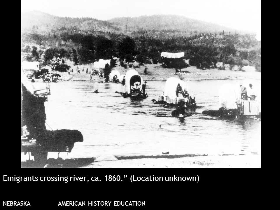Emigrants crossing river, ca. 1860