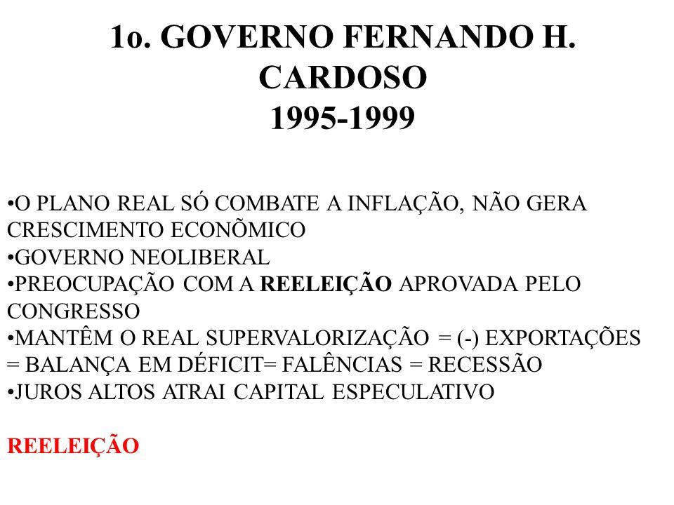 1o. GOVERNO FERNANDO H. CARDOSO 1995-1999