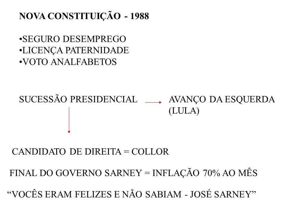 NOVA CONSTITUIÇÃO - 1988SEGURO DESEMPREGO. LICENÇA PATERNIDADE. VOTO ANALFABETOS. SUCESSÃO PRESIDENCIAL.