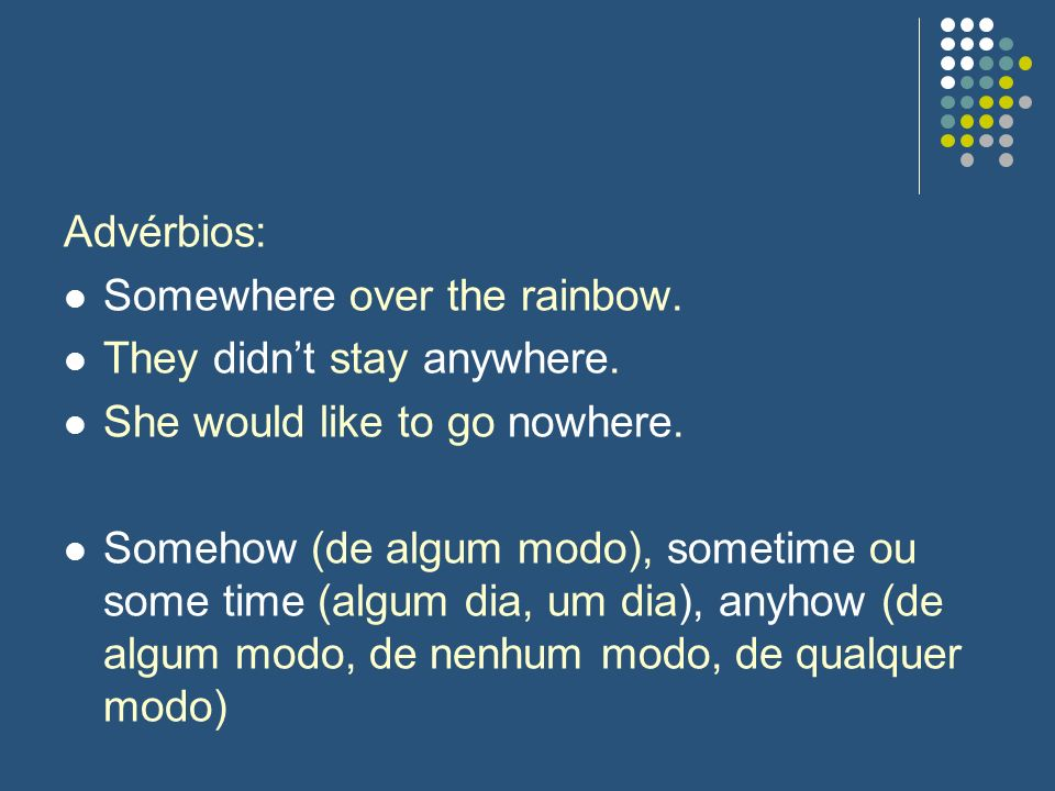 Advérbios: Somewhere over the rainbow. They didn't stay anywhere. She would like to go nowhere.