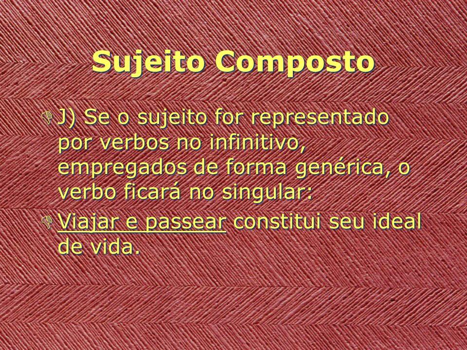Sujeito Composto J) Se o sujeito for representado por verbos no infinitivo, empregados de forma genérica, o verbo ficará no singular: