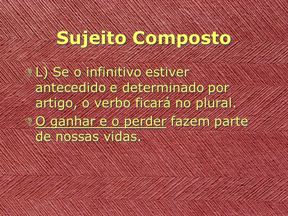 Sujeito Composto L) Se o infinitivo estiver antecedido e determinado por artigo, o verbo ficará no plural.