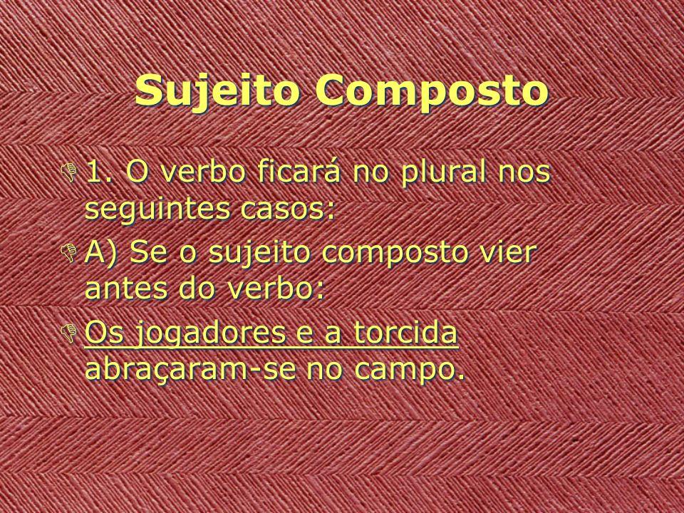 Sujeito Composto 1. O verbo ficará no plural nos seguintes casos: