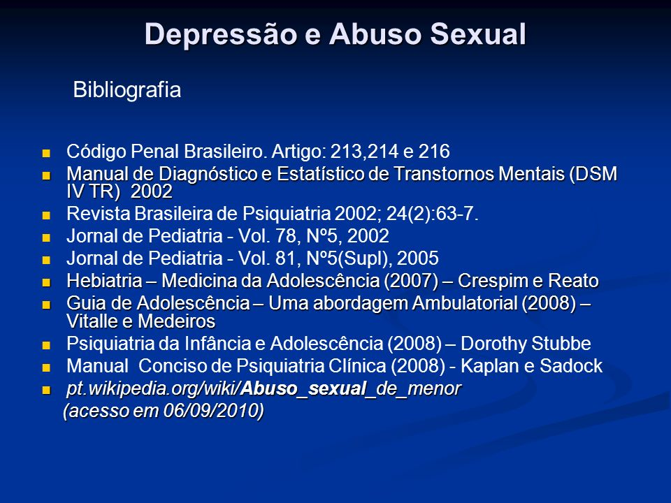 Depressão e Abuso Sexual