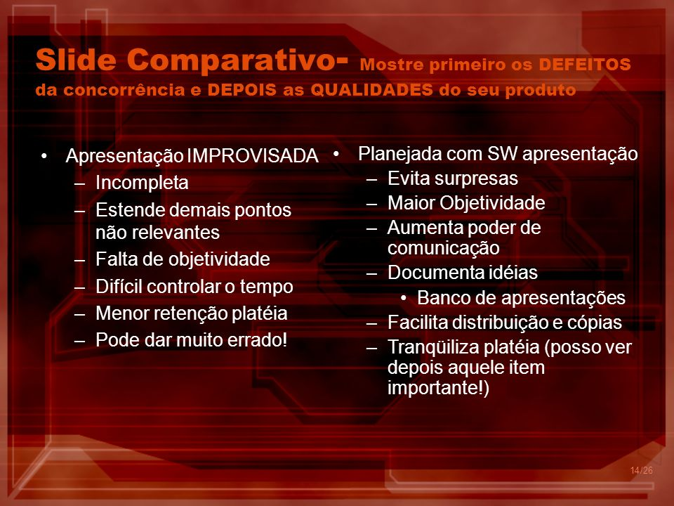 Slide Comparativo- Mostre primeiro os DEFEITOS da concorrência e DEPOIS as QUALIDADES do seu produto