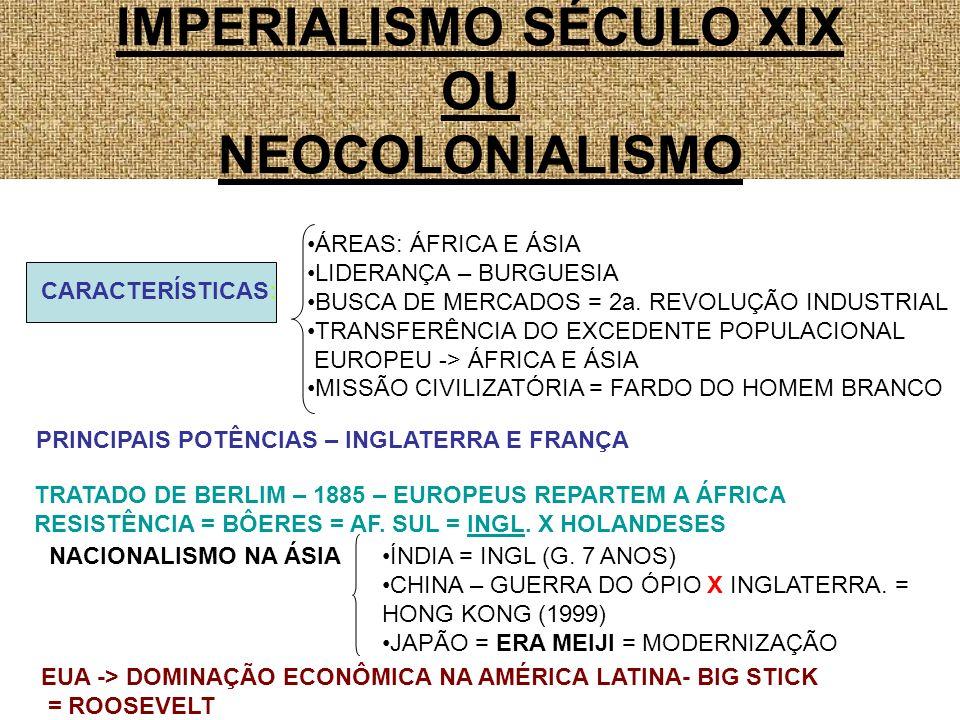 IMPERIALISMO SÉCULO XIX OU NEOCOLONIALISMO