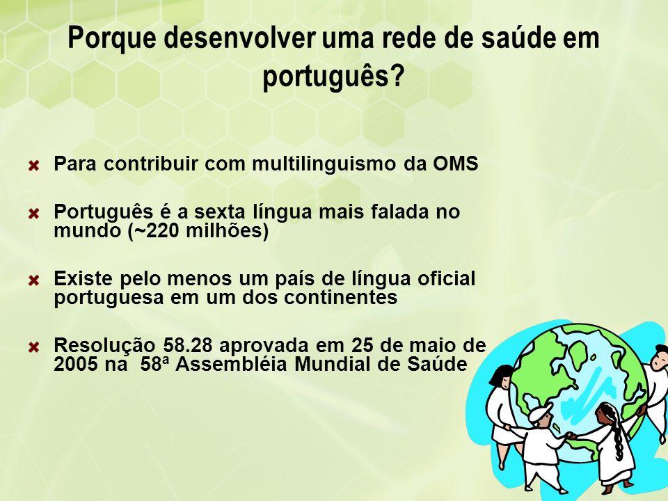 Porque desenvolver uma rede de saúde em português