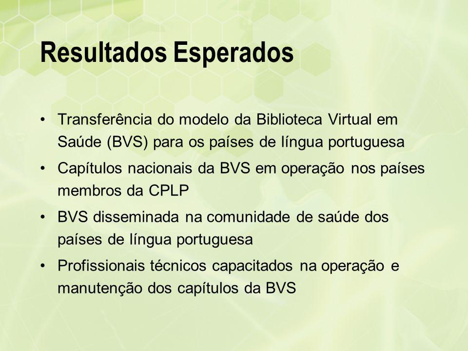 Resultados Esperados Transferência do modelo da Biblioteca Virtual em Saúde (BVS) para os países de língua portuguesa.