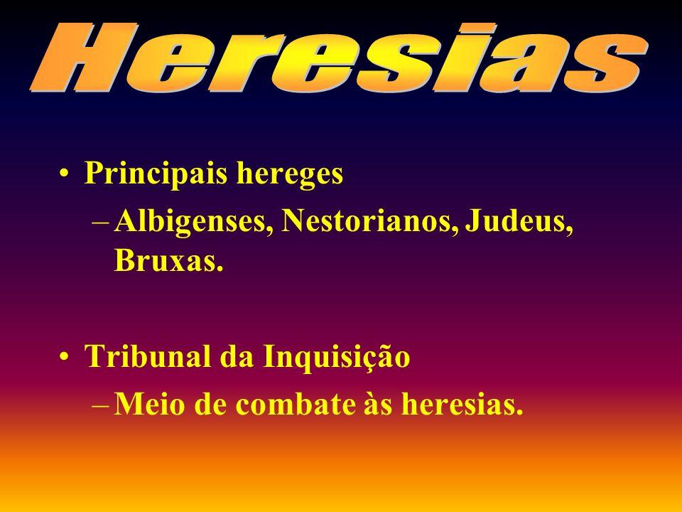 Heresias Principais hereges Albigenses, Nestorianos, Judeus, Bruxas.