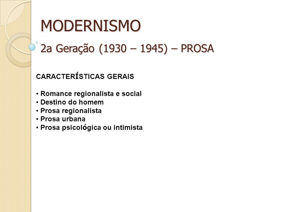 MODERNISMO 2a Geração (1930 – 1945) – PROSA