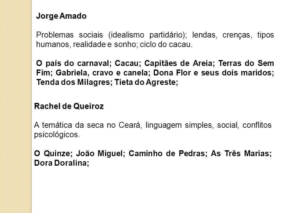 Jorge AmadoProblemas sociais (idealismo partidário); lendas, crenças, tipos humanos, realidade e sonho; ciclo do cacau.