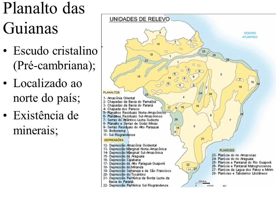 Planalto das Guianas Escudo cristalino (Pré-cambriana);