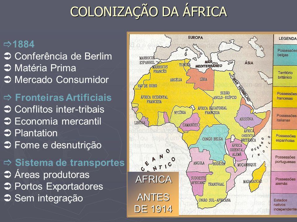 COLONIZAÇÃO DA ÁFRICA1884  Conferência de Berlim  Matéria Prima  Mercado Consumidor.