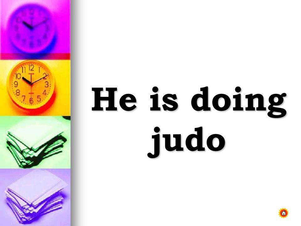 He is doing judo