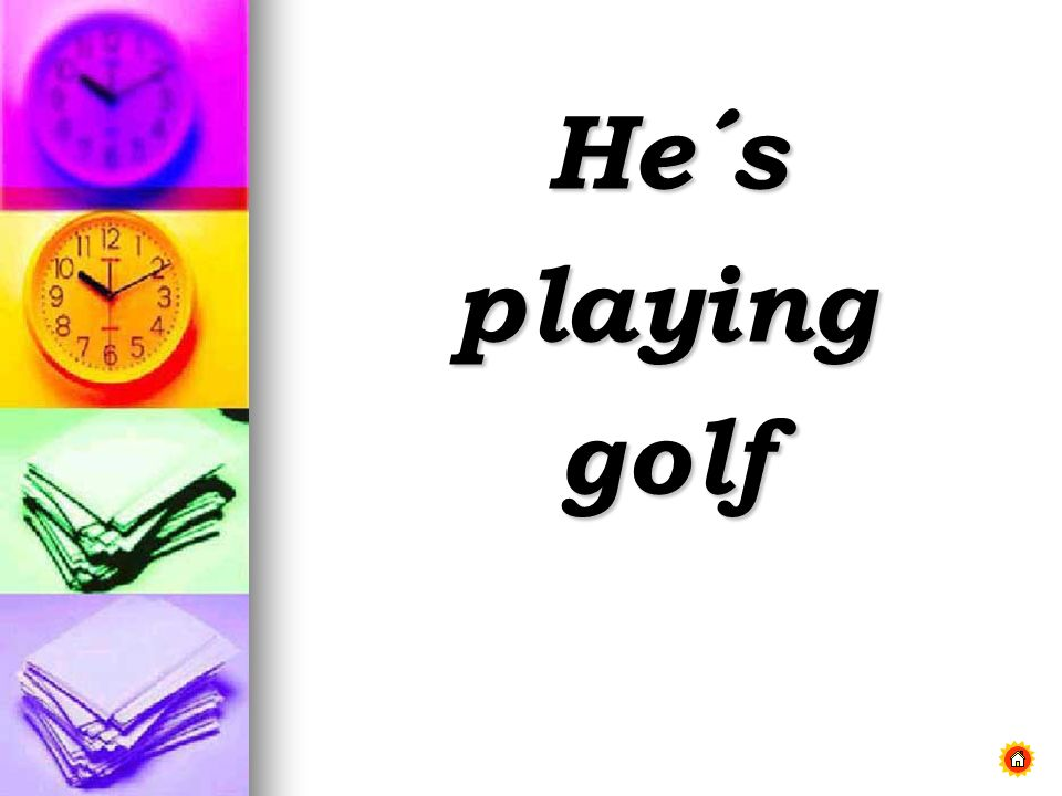 He´s playing golf
