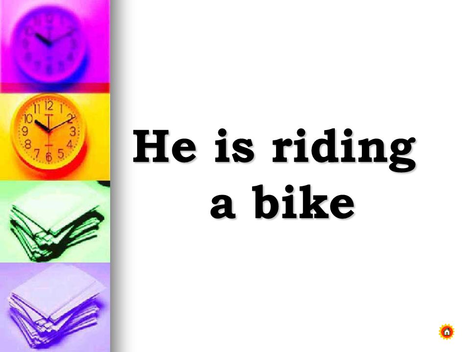 He is riding a bike