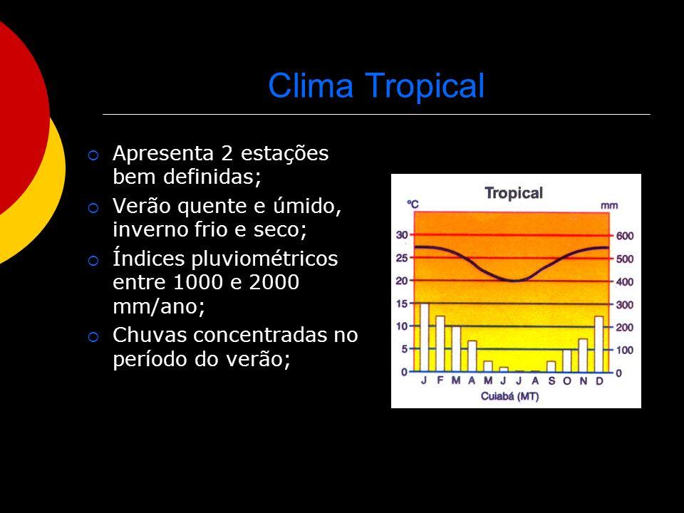 Clima Tropical Apresenta 2 estações bem definidas;