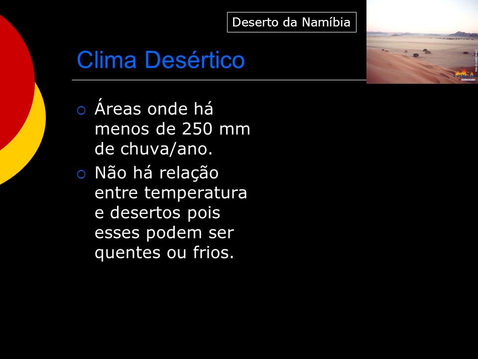 Clima Desértico Áreas onde há menos de 250 mm de chuva/ano.