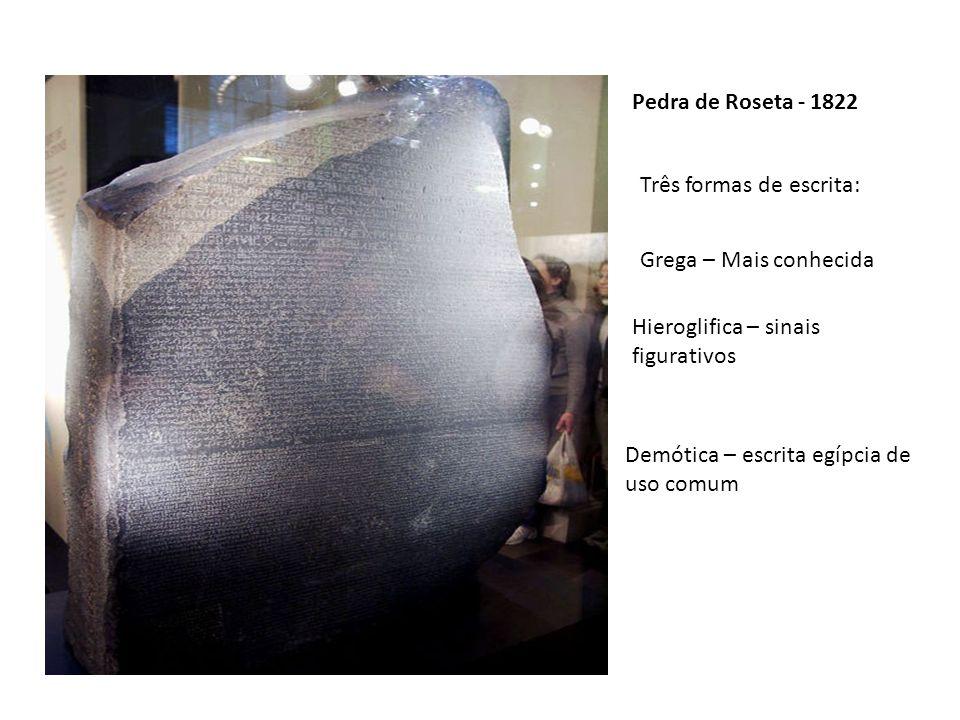 Pedra de Roseta - 1822 Três formas de escrita: Grega – Mais conhecida. Hieroglifica – sinais figurativos.
