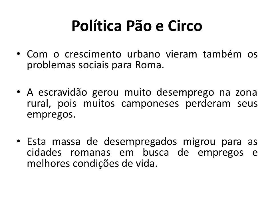 Política Pão e Circo Com o crescimento urbano vieram também os problemas sociais para Roma.