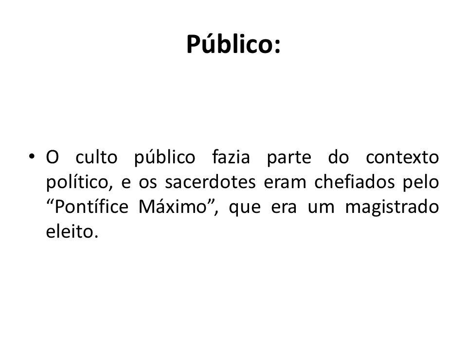 Público: O culto público fazia parte do contexto político, e os sacerdotes eram chefiados pelo Pontífice Máximo , que era um magistrado eleito.