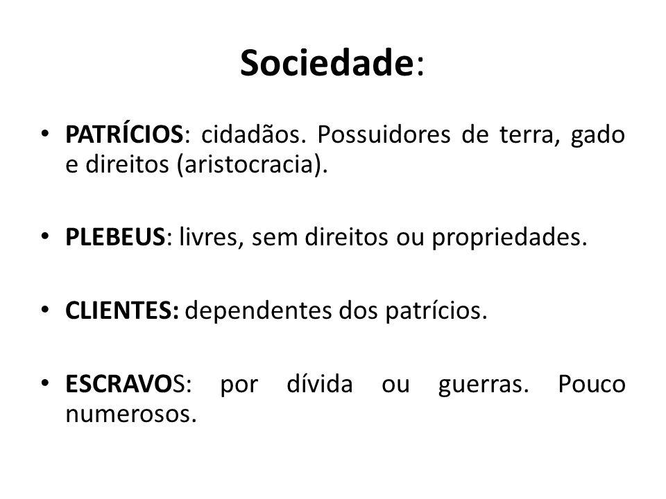 Sociedade: PATRÍCIOS: cidadãos. Possuidores de terra, gado e direitos (aristocracia). PLEBEUS: livres, sem direitos ou propriedades.