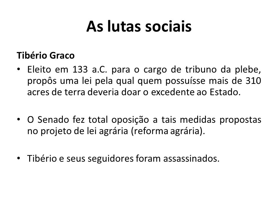 As lutas sociais Tibério Graco