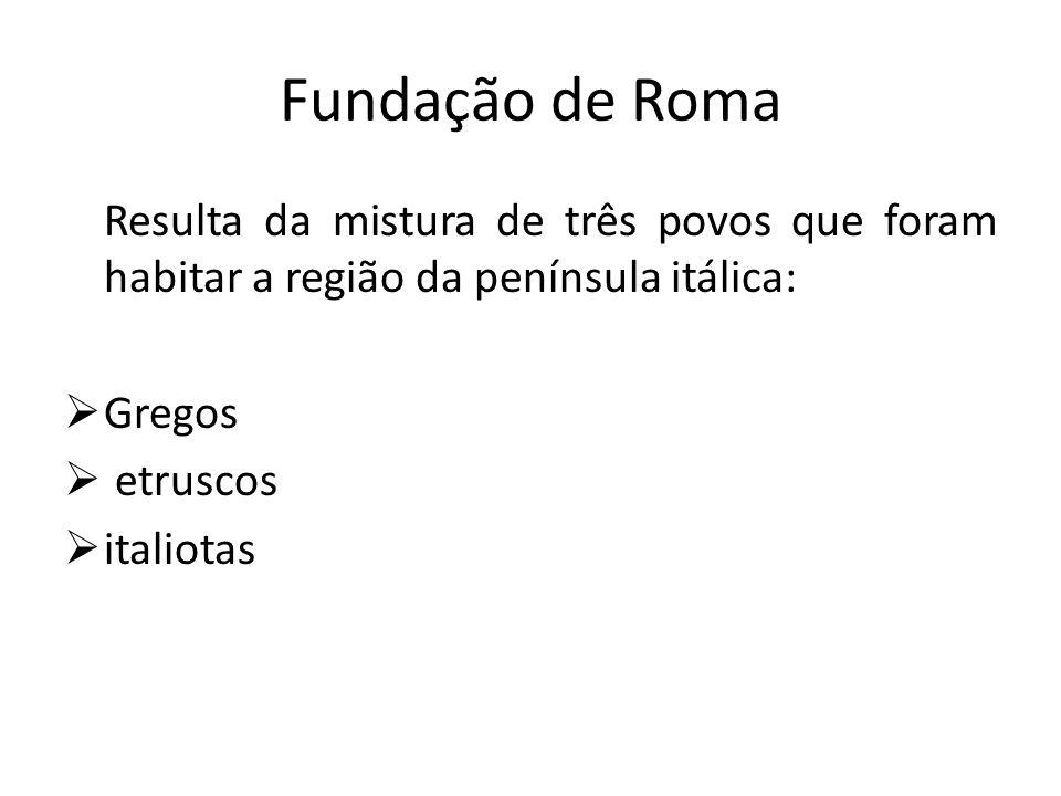 Fundação de Roma Resulta da mistura de três povos que foram habitar a região da península itálica: Gregos.