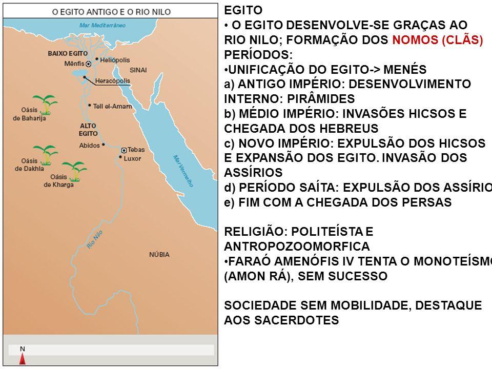 EGITO O EGITO DESENVOLVE-SE GRAÇAS AO. RIO NILO; FORMAÇÃO DOS NOMOS (CLÃS) PERÍODOS: UNIFICAÇÃO DO EGITO-> MENÉS.