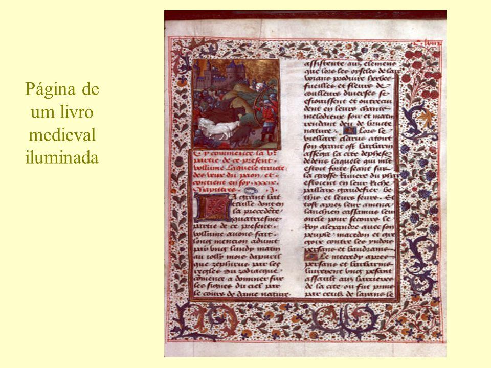 Página de um livro medieval iluminada