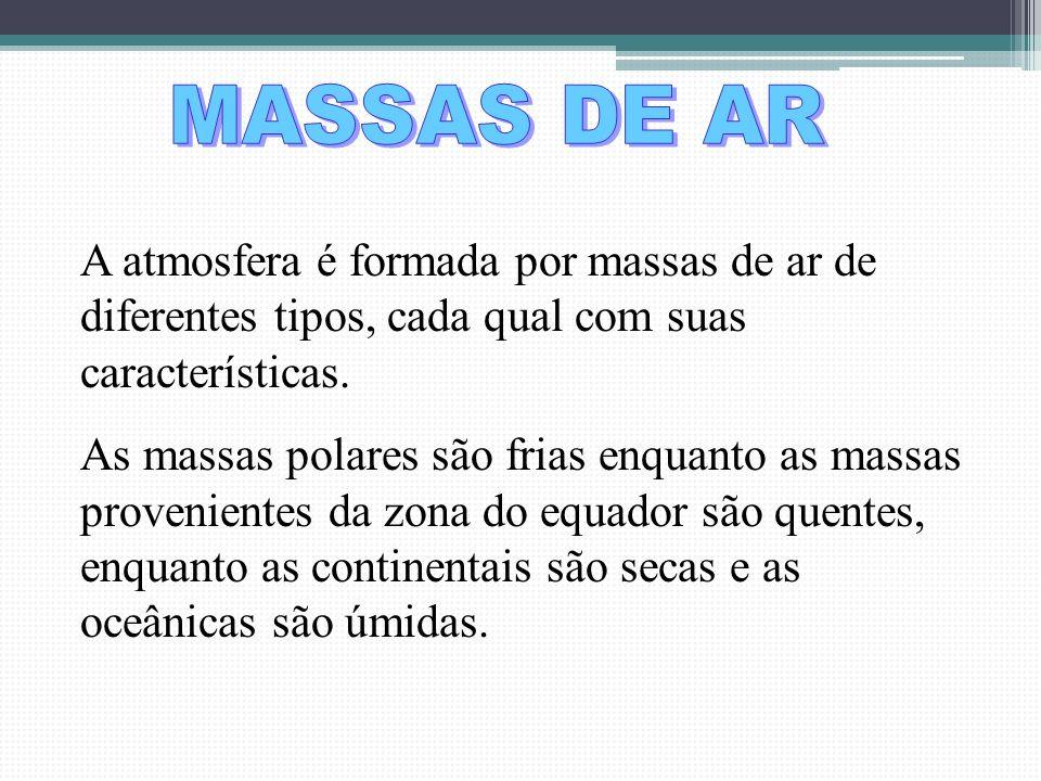 MASSAS DE AR A atmosfera é formada por massas de ar de diferentes tipos, cada qual com suas características.