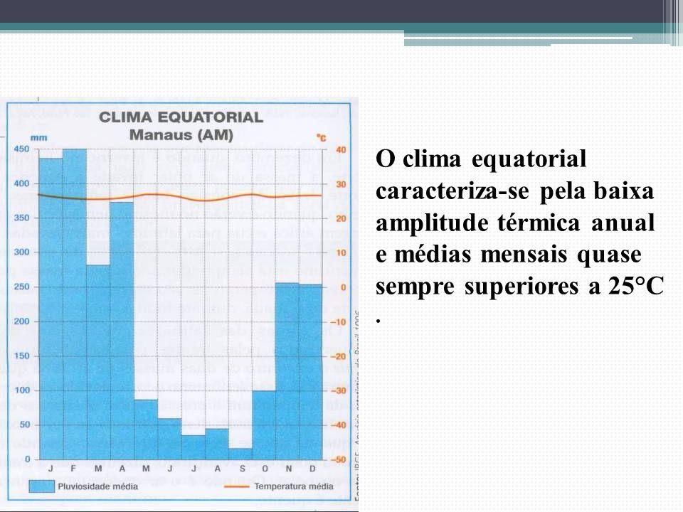 O clima equatorial caracteriza-se pela baixa amplitude térmica anual e médias mensais quase sempre superiores a 25°C .