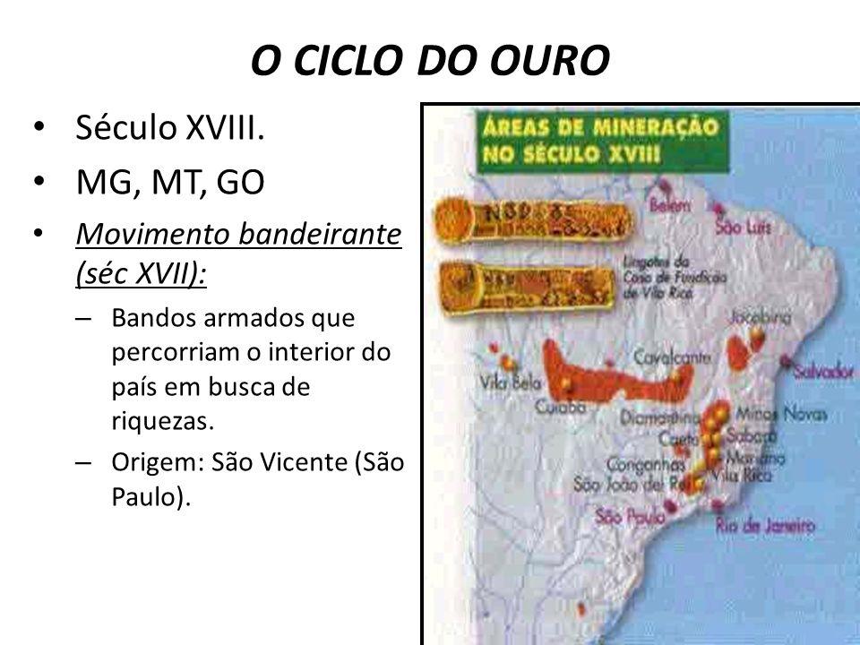 O CICLO DO OURO Século XVIII. MG, MT, GO