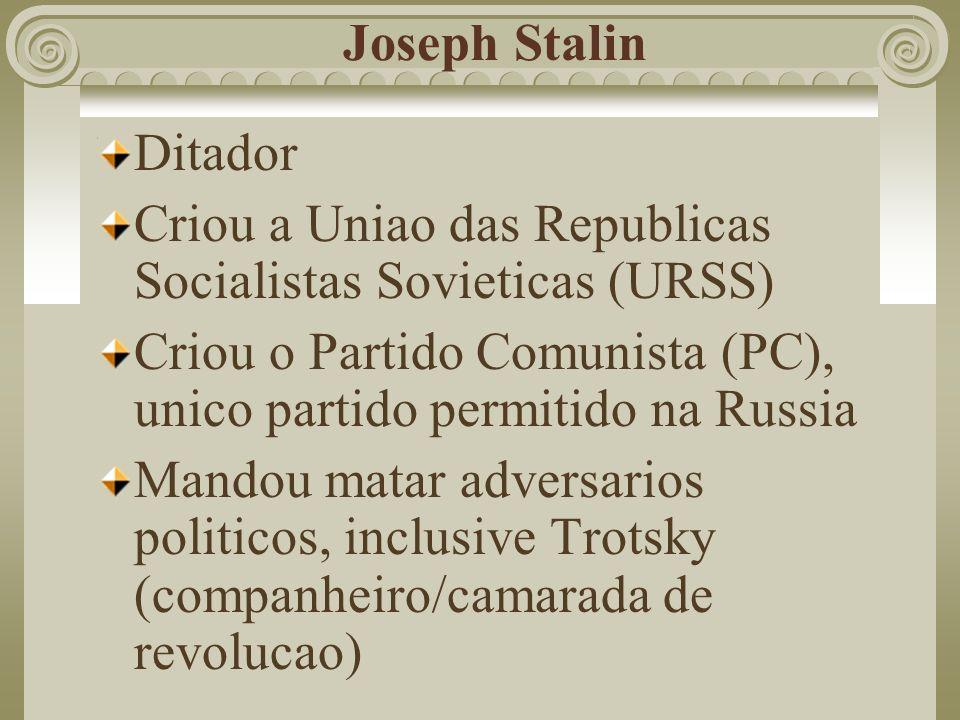 Joseph StalinDitador. Criou a Uniao das Republicas Socialistas Sovieticas (URSS) Criou o Partido Comunista (PC), unico partido permitido na Russia.