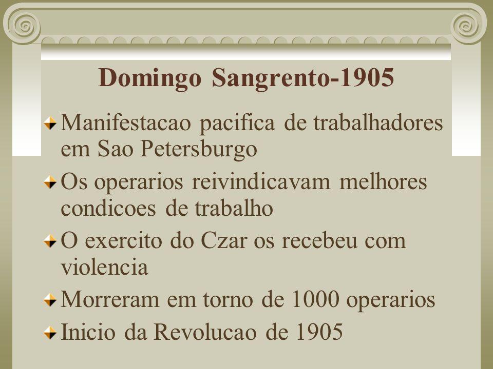 Domingo Sangrento-1905 Manifestacao pacifica de trabalhadores em Sao Petersburgo. Os operarios reivindicavam melhores condicoes de trabalho.