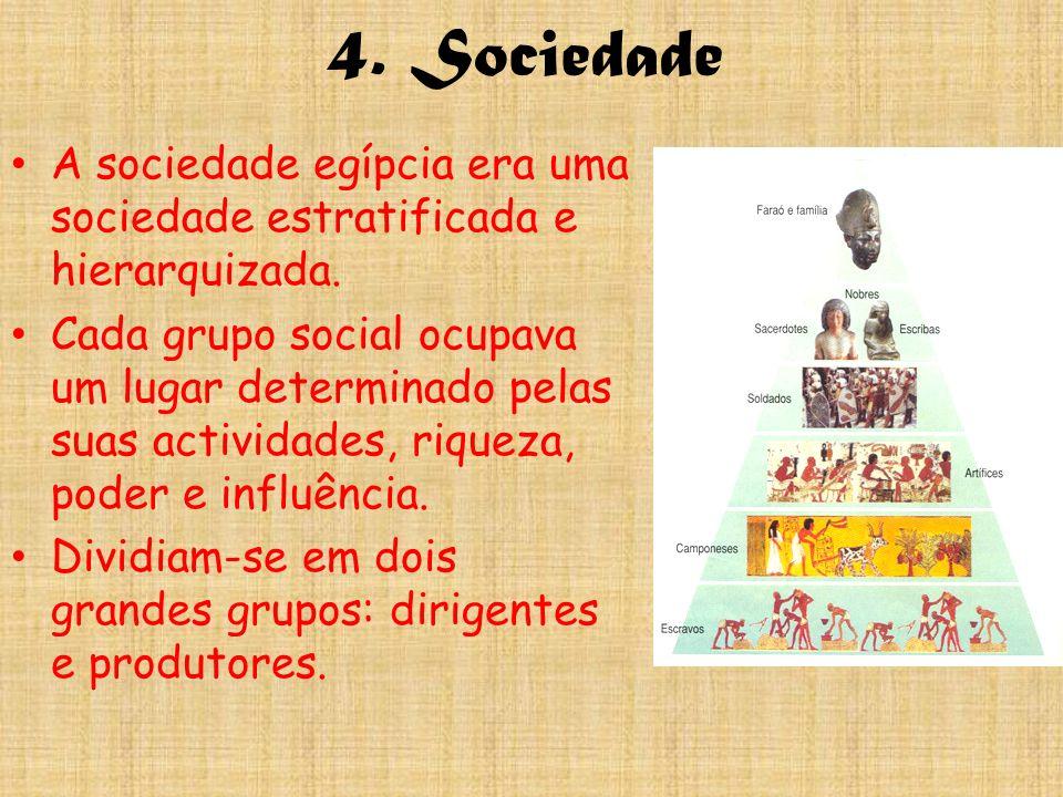 4. Sociedade A sociedade egípcia era uma sociedade estratificada e hierarquizada.