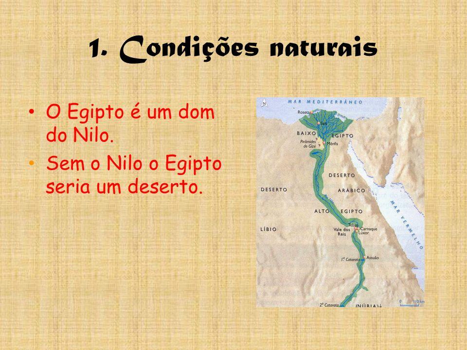 1. Condições naturais O Egipto é um dom do Nilo.