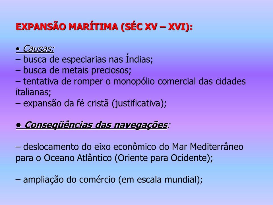 EXPANSÃO MARÍTIMA (SÉC XV – XVI):