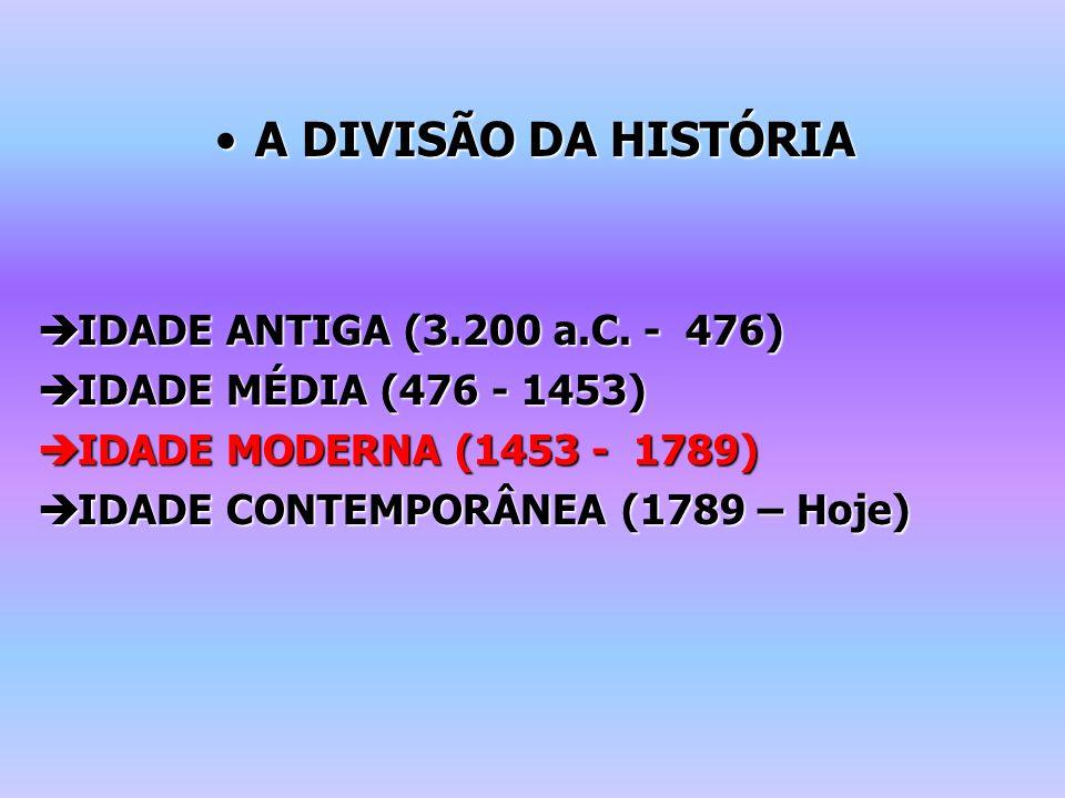 A DIVISÃO DA HISTÓRIA IDADE ANTIGA (3.200 a.C. - 476)