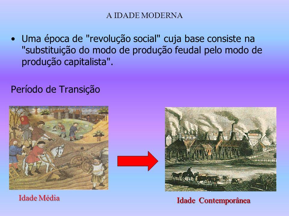 A IDADE MODERNA Uma época de revolução social cuja base consiste na substituição do modo de produção feudal pelo modo de produção capitalista .