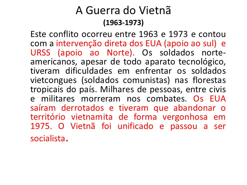 A Guerra do Vietnã (1963-1973)