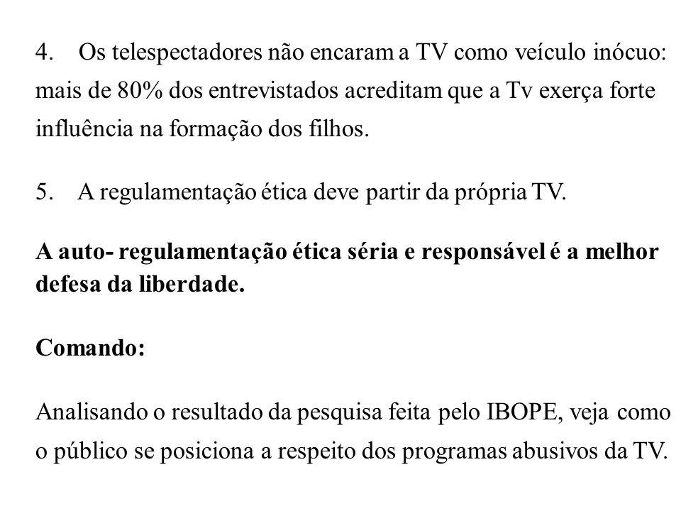 5. A regulamentação ética deve partir da própria TV.