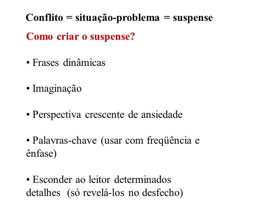 Conflito = situação-problema = suspense