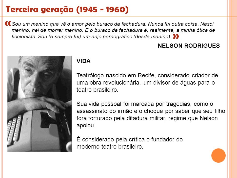 Terceira geração (1945 - 1960) « « NELSON RODRIGUES VIDA