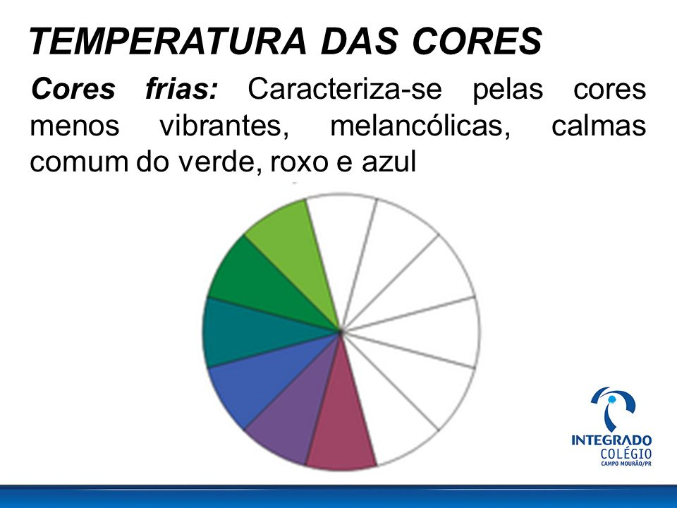 TEMPERATURA DAS CORES Cores frias: Caracteriza-se pelas cores menos vibrantes, melancólicas, calmas comum do verde, roxo e azul.