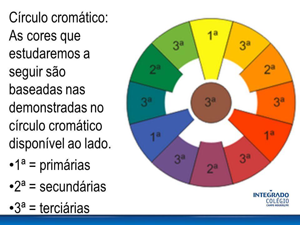 Círculo cromático: As cores que estudaremos a seguir são baseadas nas demonstradas no círculo cromático disponível ao lado.