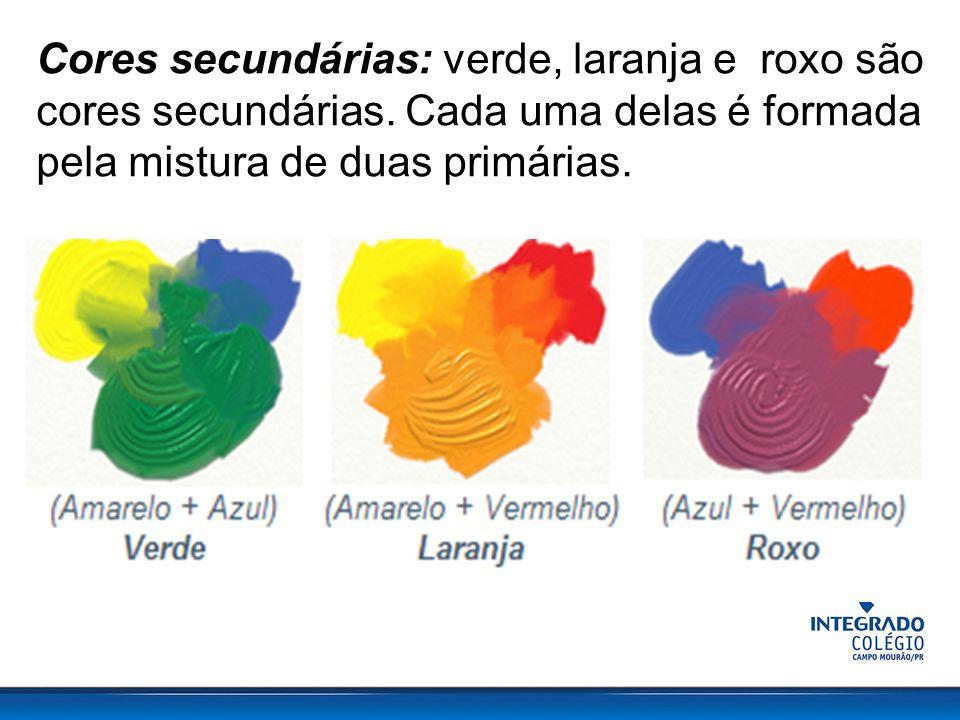 Cores secundárias: verde, laranja e roxo são cores secundárias