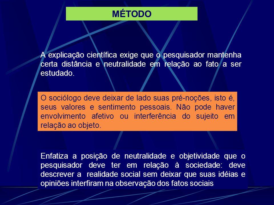 MÉTODO A explicação científica exige que o pesquisador mantenha certa distância e neutralidade em relação ao fato a ser estudado.