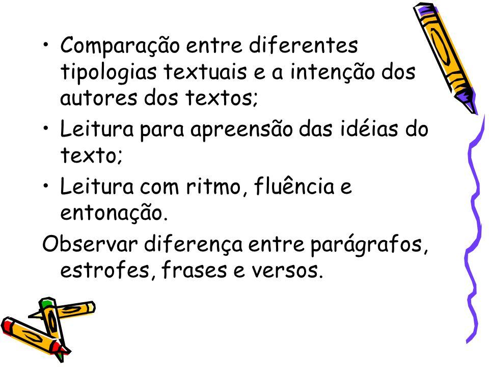 Comparação entre diferentes tipologias textuais e a intenção dos autores dos textos;