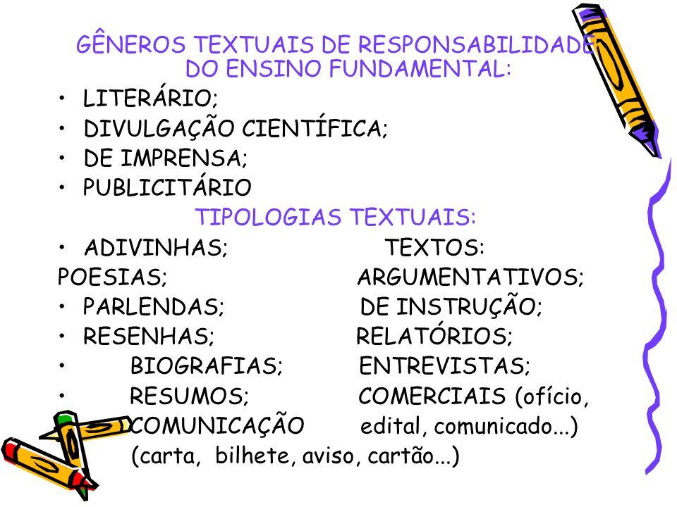 GÊNEROS TEXTUAIS DE RESPONSABILIDADE DO ENSINO FUNDAMENTAL: